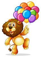 Söt lejon med färgglada ballonger