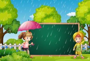 Board mall med barn i regnet