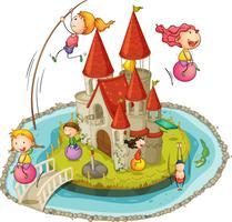 Schloss und Kinder vektor
