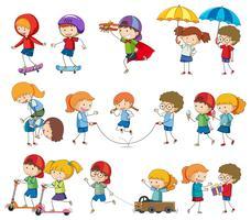 Sats av barns karaktärsaktivitet vektor