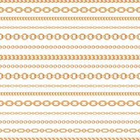 Nahtloses Muster von Goldkettenlinien auf weißem Hintergrund. Vektor-Illustration