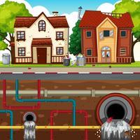 Waste Pipe Underground der Großstadt