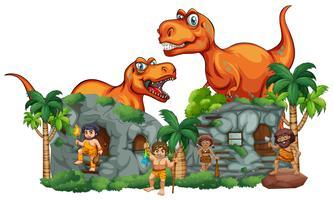 T-Rex und Höhlenmenschen im Steinhaus vektor
