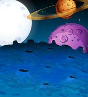 Scen med planeter i galaxen