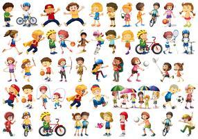 Set von Sportkindern