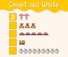 Räkna och skriv med olika leksaker
