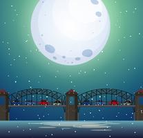 Eine Brückenlandschaft bei Nacht