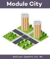 Isometrische 3D-Projektion des Stadtviertels von oben