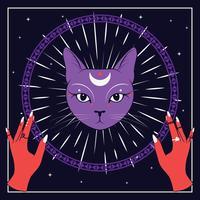 Violett katt ansikte med måne på nattsky med prydnadsram ram. Röda händer. Magiska, ockulta symboler.