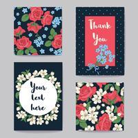 Blom- hälsningskort Set. Vektor illustration
