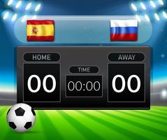 Spanien vs Russland Fußball Anzeigetafel Vorlage vektor
