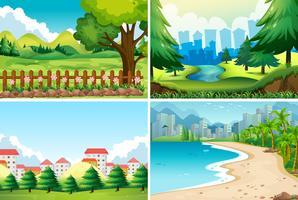 Fyra natur scen på dagtid