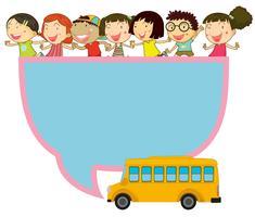 Ramdesign med barn och skolbuss