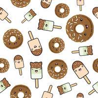 Nahtloses Muster Süße kawaii-gestylte Donuts mit Eis und Schokolade.