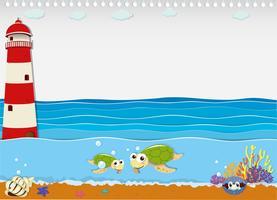 Ozeanszene mit Leuchtturm und Tieren vektor