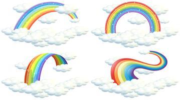Ein Satz Regenbogen auf weißem Hintergrund vektor