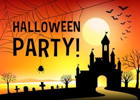 Halloween festival med kyrkogård vektor