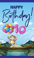 Glückwunschkarte mit Affe und Ballon Nummer zehn vektor