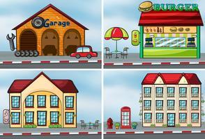 Häuser und Geschäfte