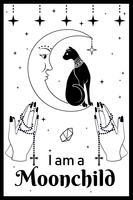 Schwarze Katze auf dem Mond. Betende Hände, die einen Rosenkranz halten. Ich bin ein Moonchild-Text