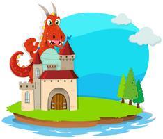Drache zerstört das Schloss