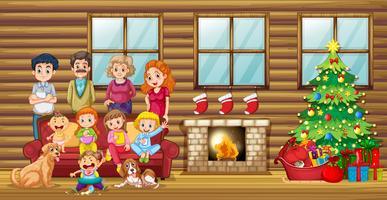 En stor familj i vardagsrummet