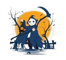 gruseliger Todesengel mit Sense und Laterne auf Halloween-Konzeptillustration vektor
