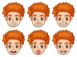 Mann mit vielen Gesichtsausdrücken vektor