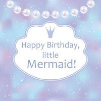 Geburtstagskarte für kleines Mädchen. Unscharfer Hintergrund, Perlen und Rahmen. Vektor-Illustration