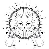 Katzengesicht. Betende Hände, die einen Rosenkranz halten. vektor