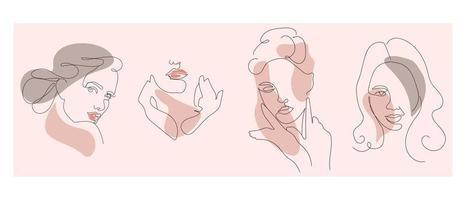 weibliche lineare Kunstporträts eingestellt. Logos für Schönheitssalons, abstrakte Vektorporträts von Frauen. vektor