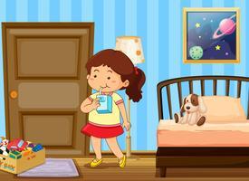 Trinkmilch des Mädchens im Schlafzimmer vektor