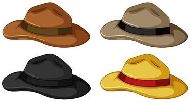Hüte in vier verschiedenen Farben