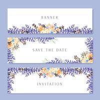 Aquarell blüht mit Textfahne, üppiges Blumenaquarellhandgemaltes lokalisiert auf weißem Hintergrund. Entwerfen Sie Grenze für Karte, sparen Sie das Datum, Hochzeitseinladungskarten, Plakat, Fahnendesign.