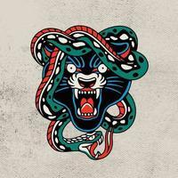grüne Schlange mit Kopf schwarzer Panther-Vektor-Illustration vektor