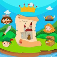 Schlossthema mit König und Prinzessin vektor