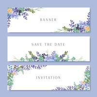 Akvarellblommor med text banner, frodiga blommor akvarell handmålade isolerad på vit bakgrund. Design gräns för kort, spara datum, bröllop inbjudningskort, affisch, banner design.