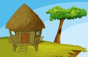 Hütte auf einer Klippe vektor