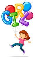 Liten tjej och ballonger för ordflicka vektor