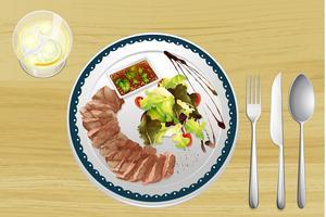 Rindfleisch und Salat