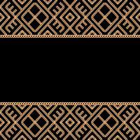 Bakgrund med gyllene kedjor. Geometriska prydnadsgränser på svart bakgrund. Vektor illustration