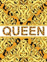 Gelbes dekoratives Element auf Tierleopardbeschaffenheit mit Ketten und Textkönigin. Vektor-Illustration