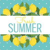 Tropische Zitrusfruchtzitrone trägt helle Sommerkarte Früchte. Plakat mit Zitronen, grünen Blättern und Blumen auf türkisblauem Tupfen. Bunter Hintergrund des Sommers