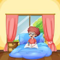 En ung pojke studie i sovrummet