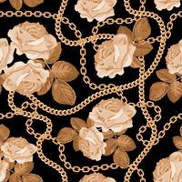 Seamless mönster bakgrund med gyllene kedjor och beige rosor. På svart. Vektor illustration
