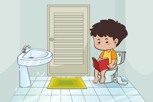 Pojke läser bok på toaletten