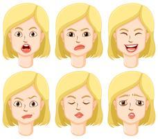 Kvinna med olika ansiktsuttryck