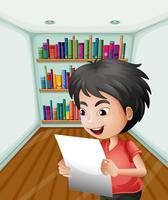 Ein Junge, der ein Papier innerhalb des Raumes anhält