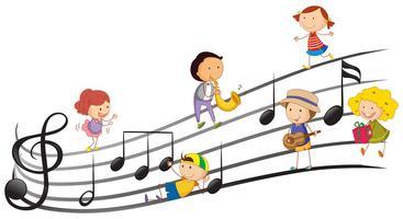 Människor som spelar musikinstrument med musikanteckningar i bakgrunden