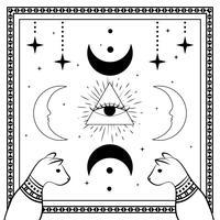 Schwarze Katzen, nächtlicher Himmel mit Mond und Sternen. Rahmen für Beispieltext. Magie, okkulte Symbole.
